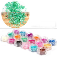 Wholesale Wholesale Crushed Shell Glitter - Wholesale-18 Pots Crush Shell Powder Nail 3D Art Decorations Accessories Unhas Decoradas Nails Glitters Colors Styling Tools MJ0051