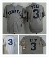 Baseball sport ruth - Babe Ruth Jersey Gray Top quality Men Sport shirt NYY Authentic Stitched Jersey Baseball Embroidery Logo