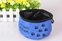 köpekler kase yüksek toptan satış-Köpekler MBQCW044 için Pet Köpek Bowl Toptan-Yüksek Kalite Kumaş Suya Taşınabilir Pet Köpek veya Kedi Kase Su İçme Şeker Renk Mal