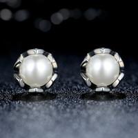 Wholesale Cultured Pearl Studs - Vintage 100% 925 Sterling Silver Cultured Elegance Stud Earrings with White Freshwater Cultured Pearl Elegant Pandora Style Earrings ER022