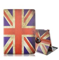 Wholesale Ipad Uk Flag - New ipad Pro USA UK National Flag Design Cover for 360 Rotating Cover National Flag Case PU Leather Folio Stand Cover Skin Shell Christmas