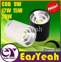 Surface Mounted CREE 9W 12W 15W 20W COB LED Downlights dimmbar / Non Power Supply Leuchte Cabinet Lichter der Decke unten Lampen-Weiß / Schwarz Shell