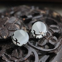 Wholesale Fine Jewelry Guaranteed Pure Sterling Silver Stud Earrings With White Opal Stone YH1055