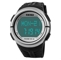 Wholesale Resin Counter - Wholesale-New Pulse Heart Rate Monitor Watch Skmei Brand Led Digital Sport Watch Women Men Pedometer Calories Counter Fitness Wristwatches