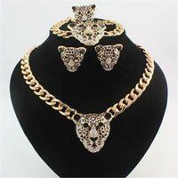Wholesale Gold Leopard Head Necklace - Hot Fashion 18K Gold Plated Rhinestone Black Enamel Leopard Head Necklace Bracelet Ring Earrings Jewelry Sets