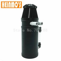 Wholesale Race Oil Filter - Baffled Radiator Aluminum Oil Catch Tank Racing Oil Reservoir Catch Can Tank with Black Breather Filter Silver and Black