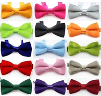 Wholesale Children Neck Ties - boys bow ties Fashion girls neck ties baby boy bow tie Pure Color Butterfly Children England Tie Kids Party Accessories 13 style A2763