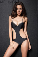 Wholesale Sexiest One Piece Bathing Suits - w1023 2015 Cut Out Swimwear Women Bandage One Piece Swimsuit Sexiest Ladies' Backless Hollow Out Swimsuit Bathing Suit Plus Size M-2XL