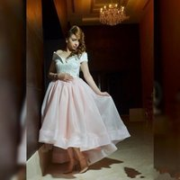 Wholesale Taffeta Organza Pink High Low - Myriam Fares Dresses Party Evening 2015 Pearls Luxury Organza High Low Off the Shoulder Formal Dress Blush Pink Ruched Puffy Party Dresses