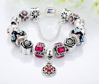 Wholesale European Murano Beads Bracelets - Silver Charm Bracelet with Murano Glass Beads European Style Bracelets Snake Chain Floral Enamel Pendants DIY Gifts BL014