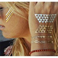 Wholesale Tattoo Arm Great - Temporary Tattoo Stickers Metallic Gold Foil Tattoo Flash Tattoos Feather Animals Stickers Gold Silver Tattoo Waterproof Great Discount