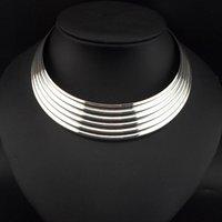 Wholesale Silver Bib Jewelry - 2015 New Stripe Gold Alloy Torques Chokers Fashion Women Dress Neck Fit Bib Wide Collars Necklaces Statement Jewelry #3132