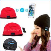 Wholesale Hot Colours Winter Women - To Hot Men Women Soft Winter Beanie Hats Wireless Bluetooth Smart Cap Headphone Headset Speaker Mic Headgear Knitted Cap More Colour