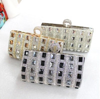 Wholesale Silver Prom Handbags Clutches - Luxurious Bling Bridal Handbags Evening Bag Silver Floral Party Prom Gold Black Cheap Free Shipping MYF77