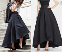 Wholesale Cheap Casual White Dresses - 2016 Cheap High Low Satin Skirts Ruched Women Formal Party Dresses Black New Design Skirts Free Shipping