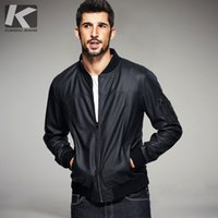 Wholesale Genuine Leather Jackets For Mens - Wholesale- KUEGOU 2017 Spring Mens Fashion Jackets Pu Leather Black Zipper Brand Clothing For Man's Slim Male Faux Fur Motorcycl Coats 5301