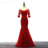 Wholesale Bamboo Carpets - Scoop Sheer Neck Lace Satin Evening Dress Long Hot Red 2018 Floor Length Bridesmaid Dress Lace Up Half Sleeves Buttons Evening Dresses