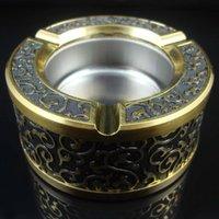 Wholesale Electroplate Lighter - electroplating titanium gold flower ashtray sets (ashtray + lighter)