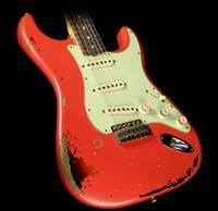 ingrosso corpo alder chitarra-Custom Shop fatto a mano Michael Landau Signature 1963 Heavy Relic ST chitarra elettrica Fiesta Red su tono 3 Sunburst Alder Body Maple Neck