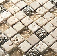 Wholesale Glass Tile Backsplash Kitchen - High quality luxury Glass mosaic tile mounted mesh wall tiles kitchen backsplash dark emperador marble glass mosaic tiles