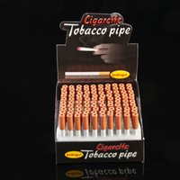 Wholesale Cheap Cigarette Boxes - 80mm Cigarette Shape Tobacco movable Spring Pipes 100 pcs lot Metal aluminum Herb Tube With Display Box Smoking Accessories Cheap Wholesale