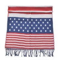 Wholesale American Flag Scarves - 2015 New American Flag Scarf Classic Pashmina USA Flag wrap tippet Striped Tassels Shawls winter blanket Scarves AL S225