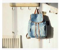 Wholesale Boys Trendy School Bag - Wholesale-fashion girl boys school bags trendy Casual college style Washed denim light blue jeans drawstring backpack travel bags bolsas