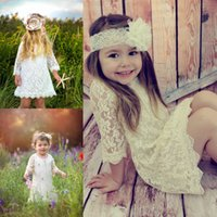 Wholesale Lace Home Dress - 2015 Lace Appliques Loose Sweet Short Mini Flower Girls' Dresses Half-Long Sleeves Girls' Dresses for Wedding Party Birthday Also Home