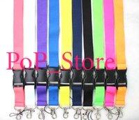 farben mobil großhandel-Großhandel - Bunte feste Farben Schnalle Strap Style Hals Abzugsleine, Schlüsselanhänger, Für ID Card / Mobile etc (Gelb) SNL- gemischt