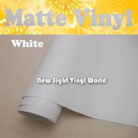 Wholesale matte white cars - High Quality Matte White Vinyl Matt White Wrap Film Air Free Bubble For Car Stickers Size: 1.52*30m Roll