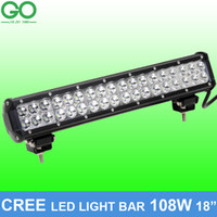 Wholesale Led Lights For Cars 24v - 18 inch 108W Cree LED Work Light Bar for Offroad Boat Car Tractor Truck 12V 24V Spot Flood Combo Beam Auto Inspection Lamps
