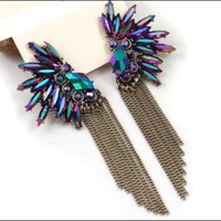 Wholesale Korea Angel Wing Feather Purple Crystal Earrings Fashion For Women Girls Christmas gift
