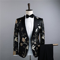 Wholesale mens wedding suit long - Jackets+Pants Men's Luxury Suits Groom Groomsman Dress Business Suit Pants Wedding Men Summer Slim Fit Prom Mens Black in stock Suits 2018