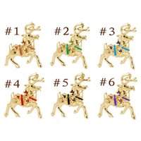 Wholesale Reindeer Brooch - 2015 new 6 Styles Golden Reindeer Christmas Brooch Pin Colorful Rhinestone Pin Lot Christmas Gift free shipping