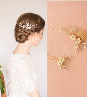 Wholesale Handmade Gold Hair Accessories - 2016 Handmade Gold Flower Bridal Hair Comb Pins Set Crystal Accessories Wedding Headpiece Tiara