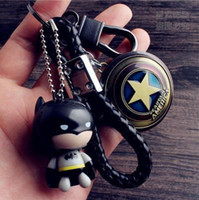 Wholesale Tungsten Key Pendant - Batman Keychain Key Pendant shield key chain men car Captain America tungsten steel Keychain waist hanging