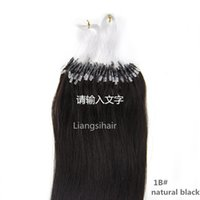 "Wholesale Micro Ring Hair Extensions 1b - Brazilian Hair 16""-26"" 100s 1B# Natural Black Micro Ring Hair Extensions Brazilian Virgin Remy Human Hair Bundles Straight Hair products"
