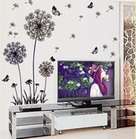 frigoríficos médios venda por atacado-1 PCS Art Mural Decalques de parede Removível Dandelion Flor Decoração Da Parede adesivos de parede