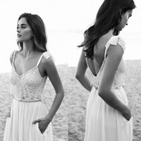 Wholesale Crystal Spaghetti Beads - 2016 Lace Wedding Dresses Spaghetti Neck Bow Lihi hod Beads Backless Bride Gowns Sweep Train Vintage Beach Chiffon Wedding Dress