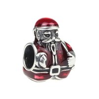 Wholesale Metal Charm Santa - Beads Hunter Jewelry Authentic 925 Sterling Silver Santa Claus Is Coming Down the Chimney Charm 925 stamp big hole bead F  European Bracelet