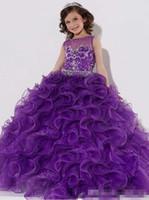 schöne rüsche blumenmädchen kleider großhandel-2015 schöne Elegent Sleeveless Blumen-Mädchen-Kleid-Rüschen abgestufter bördelnder Kristallblumen-Mädchen-Kleider
