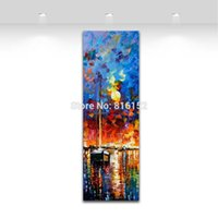Wholesale Yacht Knife - Travel of the Yacht Dust Harbor Scene Palette Knife Oil Painting Wall Art Picture Printed On Canvas For Office Home Decor