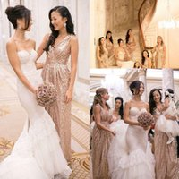 Wholesale Discount Convertible Dress - Big Discount Convertible Bridesmaid Dresses with Gold Sequins Cheap for sale A-Line Backless Pleated Party Prom Dress