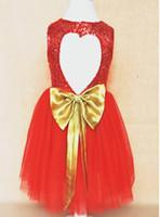 Wholesale Knee Length Glitter Dresses - 2016 Spring Summer Sequins Glitter Girls Dress Heart Bowknot Sleeveless Vest Princess Dress Girls Party Dress 5pcs lot White Red K6790