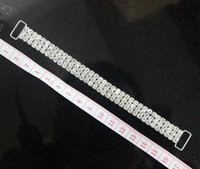 ingrosso bikini cristalli-10pcs 3ROWS pieno di cristallo strass Bikini Connettori fibbia in metallo argento catena per abbigliamento da nuoto Bikini decorazione
