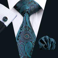 Wholesale Silk Knit Tie Pattern - Stylish Teal Business Work Tie Paisely Pattern Hankerchief Cufflinks Mens Set Jacquard Woven Classic 8.5cm Width N-0468