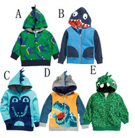 Wholesale Korean Children Boys Jacket - Cartoo Dinosaur Children Hoodies Jacket Korean looped pile cotton zipper baby boys girls hoody coat kids clothing outwear