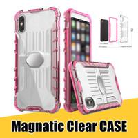 manzana de hierro al por mayor-Fundas magnéticas transparentes para iPhone X 8 7 6s Plute8 S8 S8plus Armadura híbrida a prueba de choques de cristal Contraportada con pieza de metal de hierro inoxidable