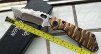 Wholesale Custom Knives Sale - free shipping Promotion Sale New Custom Made Full Gold Titanium Strider SMF SNG D2 Style Folding Knife DF50