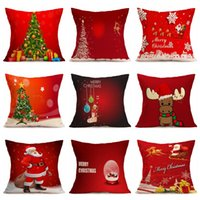 Wholesale cushions for sofa red - Santa Claus Pillowslip Creative Christmas Theme Pillow Case For Home Sofa Decoration Cushion Cover Multiple Styles Red 5 5nt C